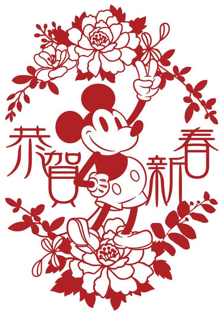 HOLA特力和樂迪士尼系列米奇春聯窗花-恭賀新春,售價299元。圖/HOLA提供