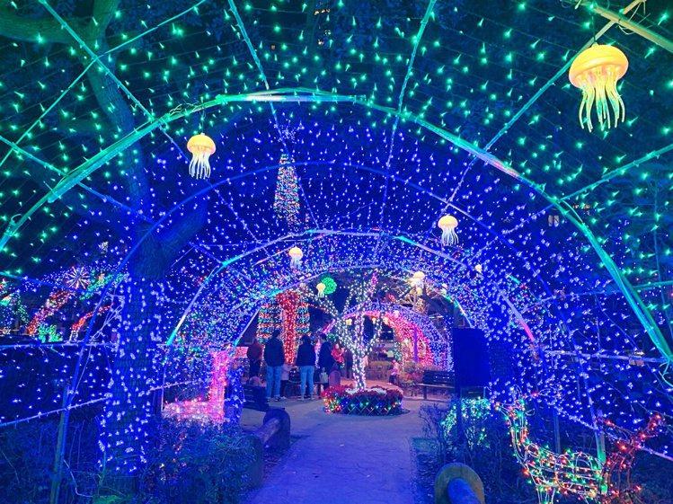 福興耶誕公園的藍色銀河隧道內,還有小小水母在上頭漂著。記者魏妤庭/攝影