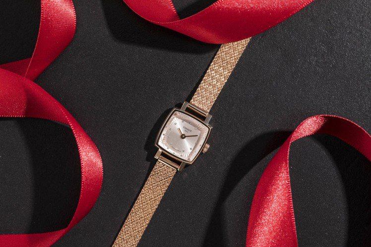 天梭表Lovely Square臻愛系列腕表,18K玫瑰金PVD不鏽鋼表殼、表鍊...