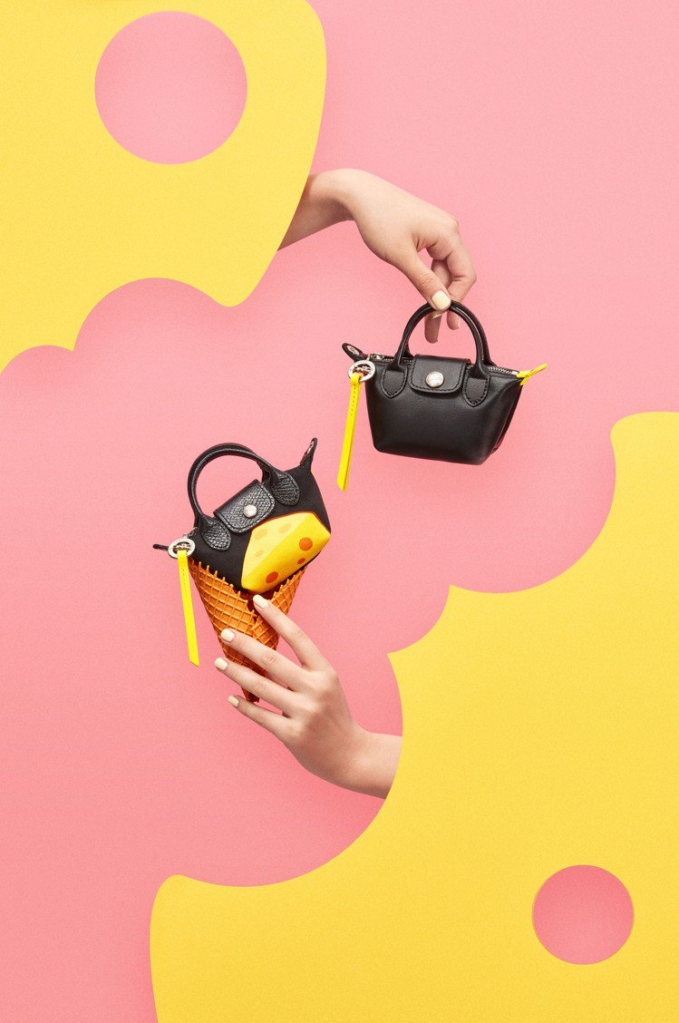 LONGCHAMP推出金鼠年Le Nano Pliage帆布奈米手袋。圖/LON...