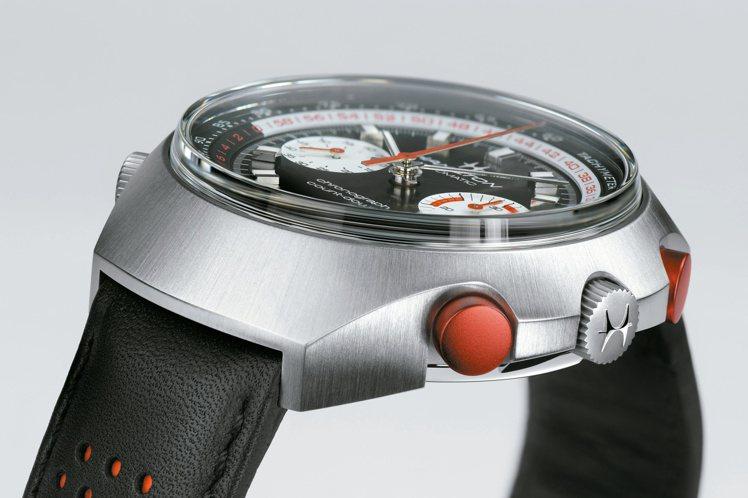 漢米爾頓Chrono-Matic E計時碼表,延續了70年代的製表傳統,使用箱型...