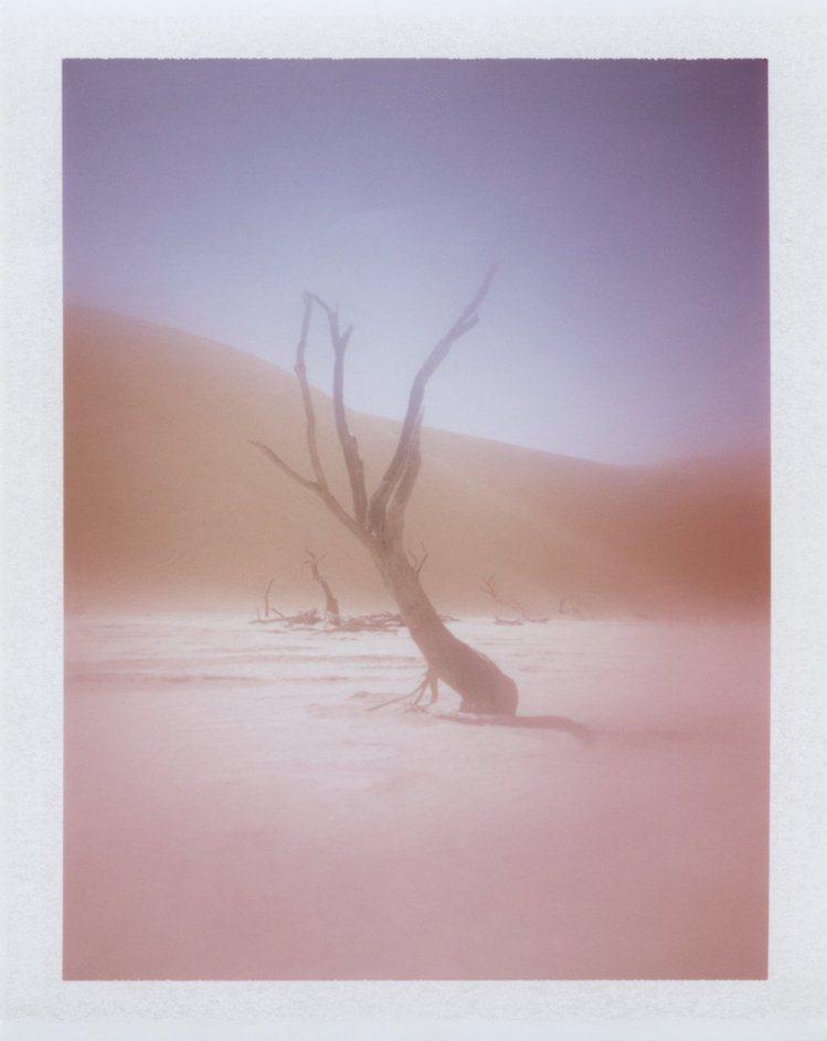 將靜謐的沙漠,透過拍立得的濾鏡,才發現沙漠竟是浪漫的紫藕色,正是香奈兒彩妝露西婭...