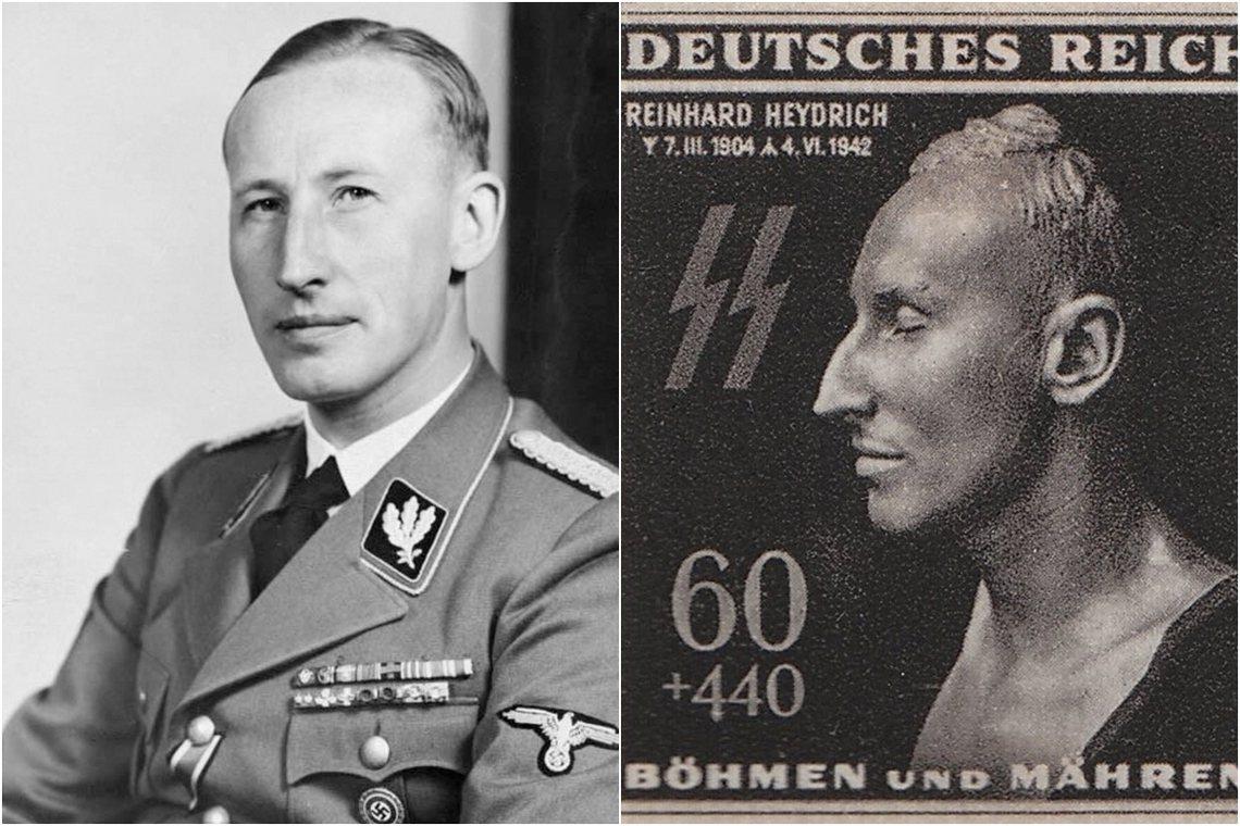海德里希埋於柏林榮軍公墓,納粹甚至為其發行過特別紀念郵票(圖右)。 圖/維基共享