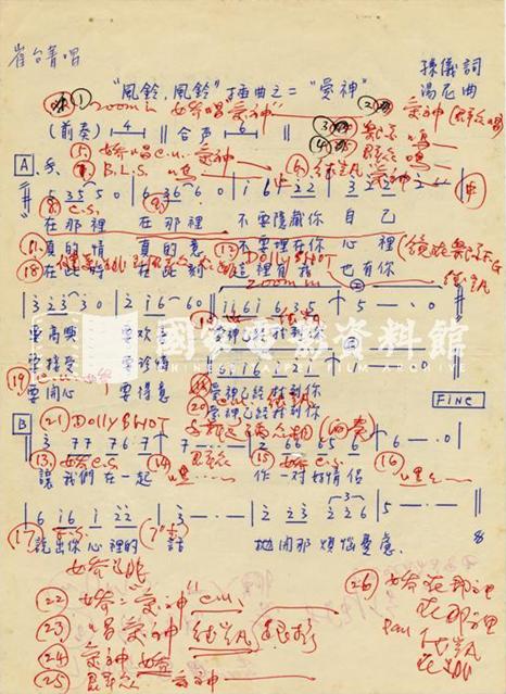 〈愛神〉曲譜原稿,李行導演把電影分鏡用紅筆直接寫在樂譜上。 圖/國家電影資料館