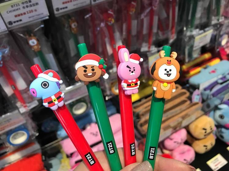 BT21冬季造型款中性筆。記者陳立儀/攝影