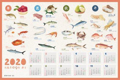 基隆市政府產發處每年都會印製「海產」月曆,介紹魚蝦蟹,十分搶手。圖/蔡馥嚀提供