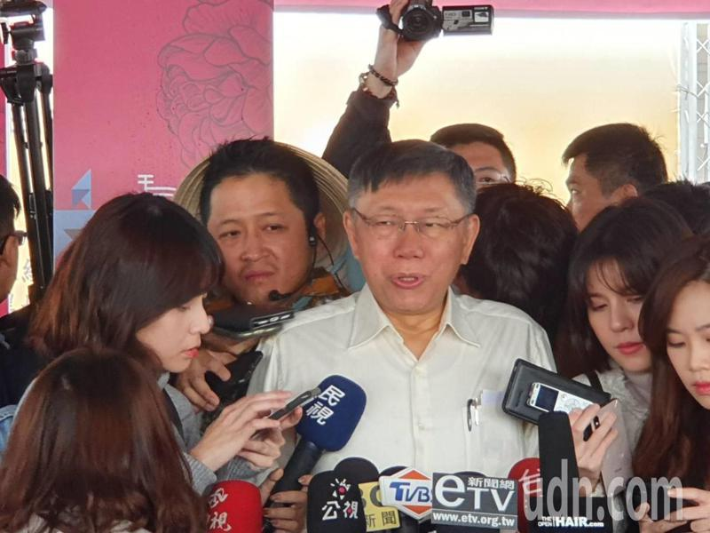 台北市長柯文哲上午出席新住民園遊會及感恩送暖活動時受訪。記者楊正海/攝影