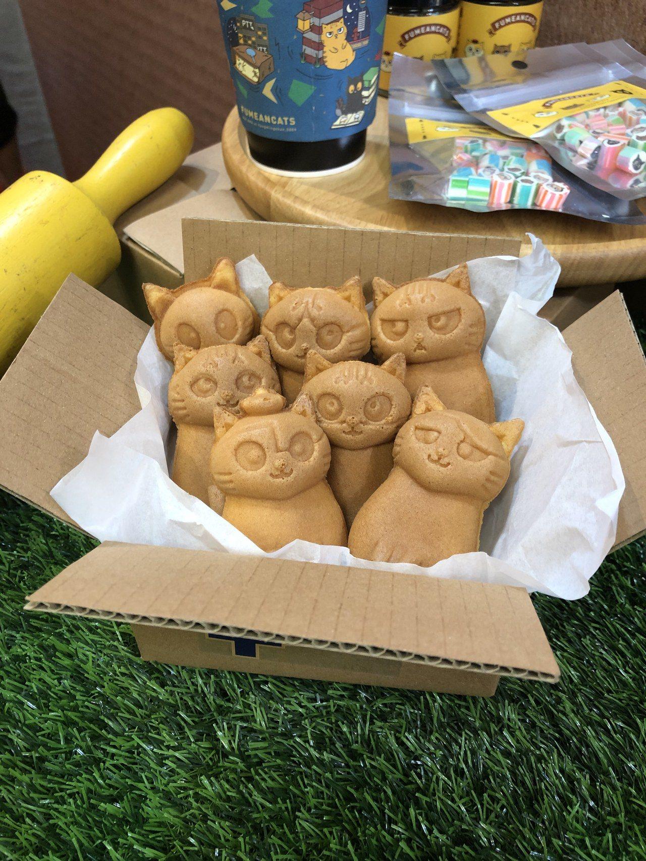 以「黃阿瑪的後宮生活」七隻貓為造型的雞蛋糕。圖/聯合數位文創提供