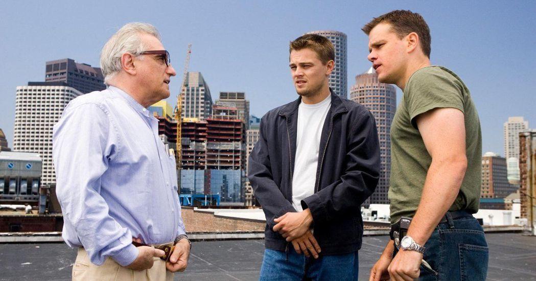 馬丁史柯西斯(左起)指導李奧納多狄卡皮歐與麥特戴蒙演出「神鬼無間」。圖/摘自im...
