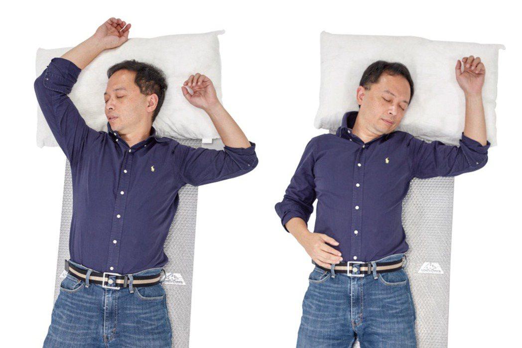 雙手或單手高舉的睡姿,罹患頸椎病的機會較高。 圖╱摘自《不開刀,治頸椎》