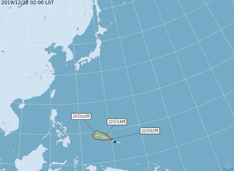 第29號颱風巴逢今天上午8時生成。圖/氣象局提供
