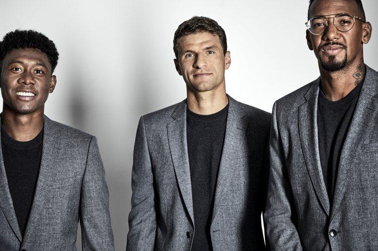 BOSS替歐冠盃勁旅拜仁慕尼黑隊,打造冠軍球隊造型,帥氣程度堪比男子偶像團體。圖...