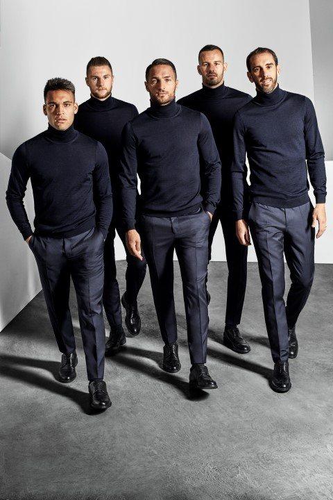 BOSS替歐冠盃勁旅國際米蘭隊,打造冠軍球隊造型,帥氣程度堪比男子偶像團體。圖/...