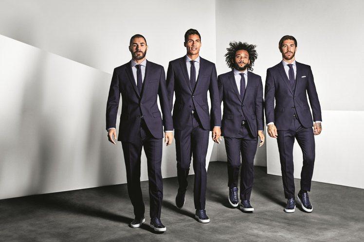 BOSS替歐冠盃勁旅皇家馬德里隊,打造冠軍球隊造型,帥氣程度堪比男子偶像團體。圖...