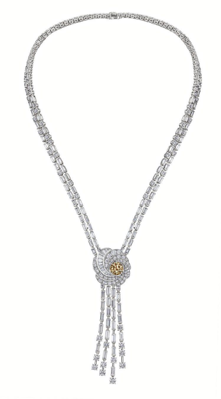 De Beers Aria高級珠寶褐鑽項鍊 ,鑽石總重55.84克拉,價格店洽。...