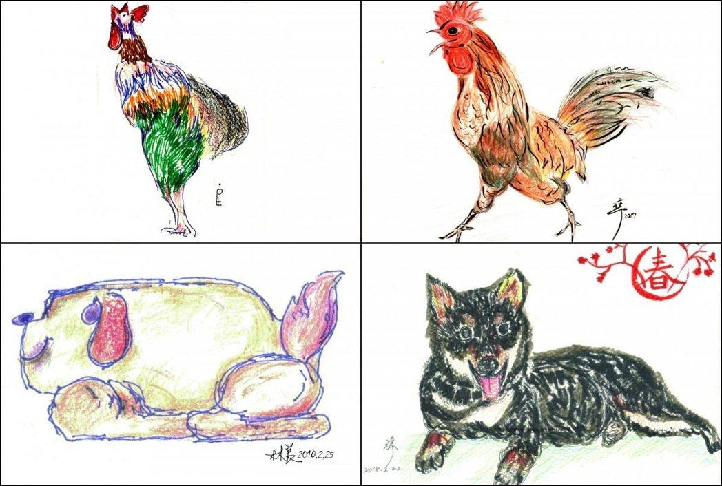 林瑋自爸爸出院後就每年幫他做年度小禮物,雞年畫雞、狗年畫狗。左排為林良繪,右排林瑋繪。 圖/openbook、林瑋提供