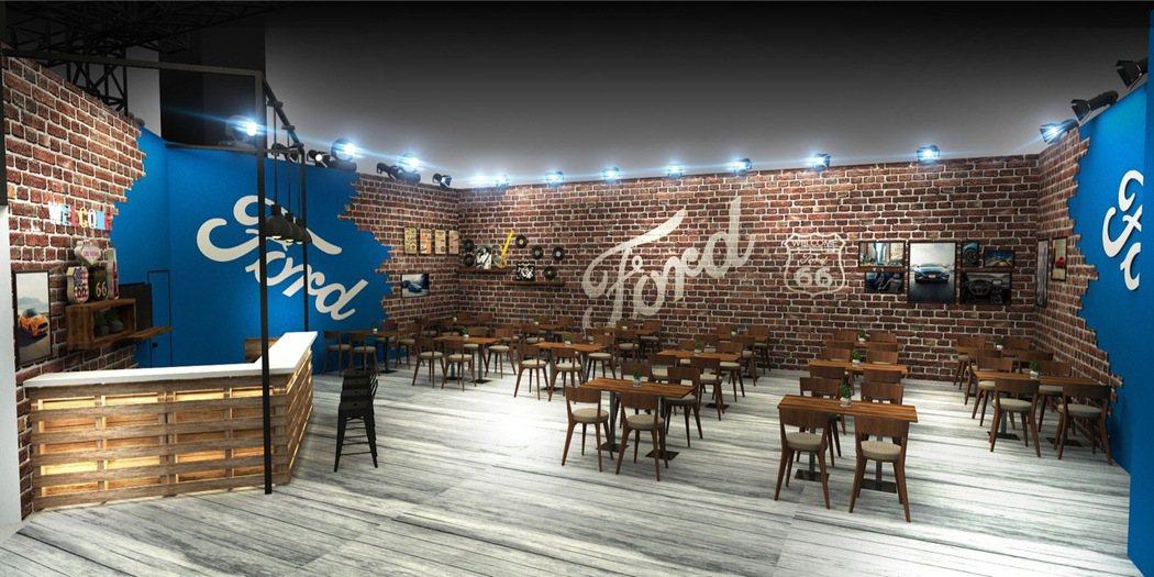 Ford以美式鄉村酒吧概念鋪陳客戶洽談區,提供美式特色餐飲小點。 圖/福特六和提...