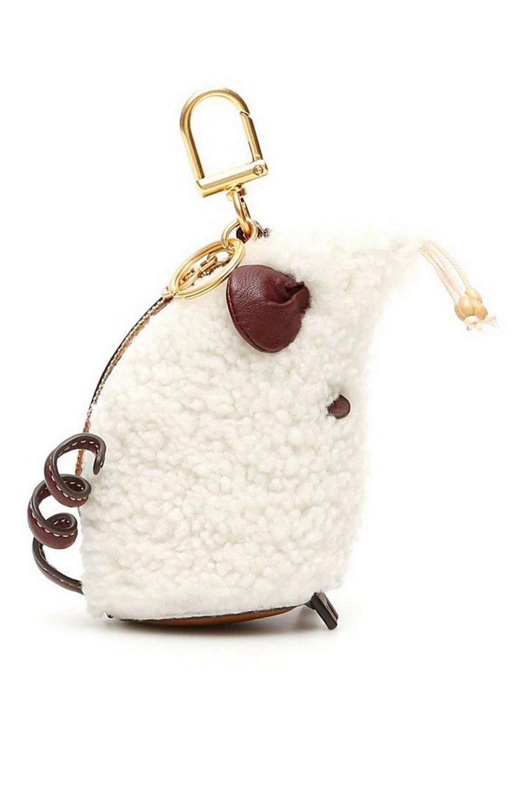 Rita鼠鑰匙包(剪羊毛面),8,690元。圖/Tory Burch提供