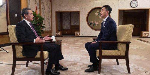 大陸國務委員兼外交部長王毅受大陸官媒訪問。圖/取自大陸外交部網站