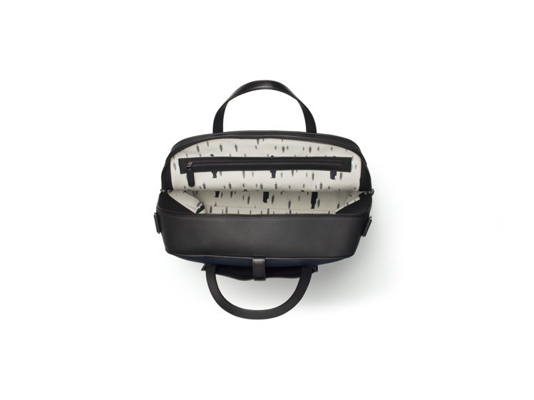 Magritte系列D-Off男仕牛皮旅行袋內襯是「Golconda」畫作裡騰空...