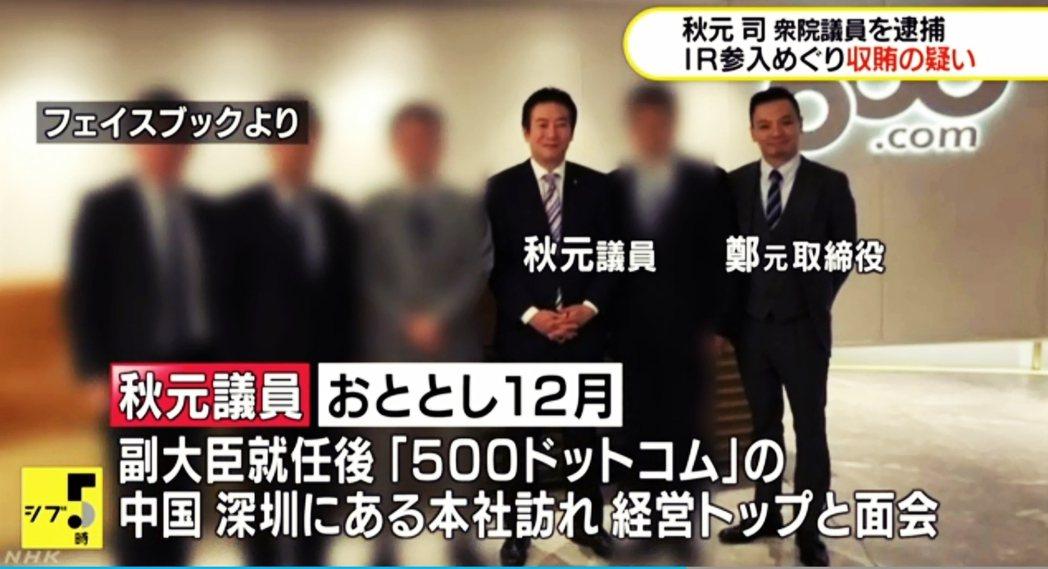 秋元司與500.com透過座談會的連結,之後秋元司還曾前往中國參訪。圖為秋元司訪...