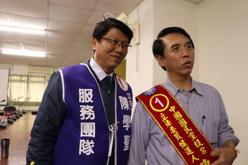 國民黨籍候選人陳學聖並不擔心郭替趙站台,陳表示,現在態勢是藍綠對決,昨日謝龍介到...