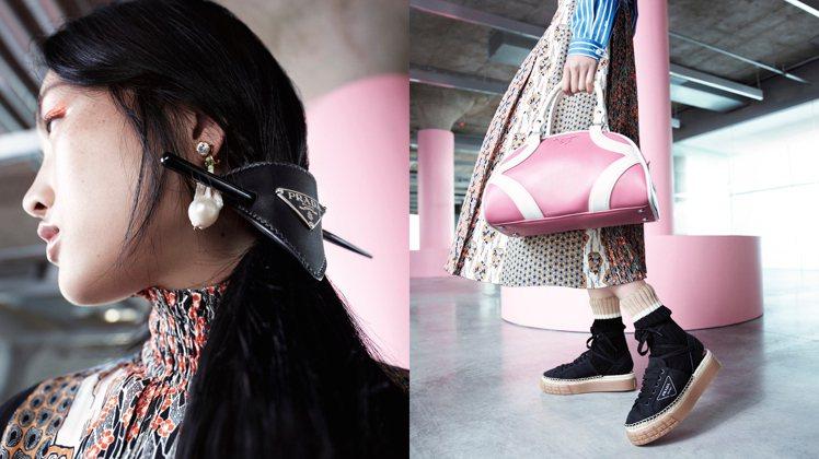 PRADA明年迎來保齡球包Bowling Bag的二十歲生日,廣告主打的粉紅色款...