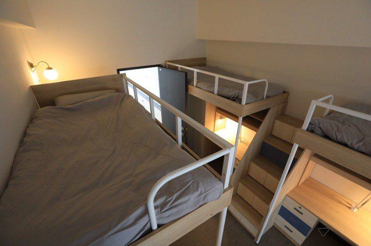 宿舍的上下鋪設計,看起來也很時髦。圖/輔仁大學提供