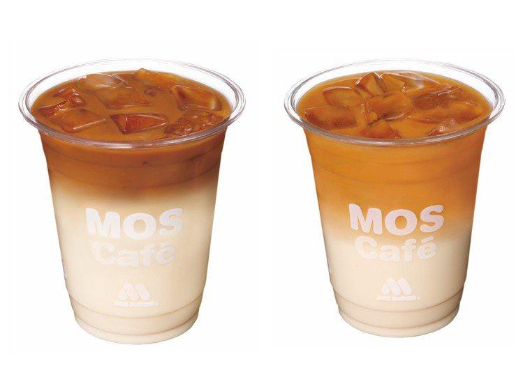 「摩力拿鐵咖啡」、「摩力茶歐蕾」(由左至右)單杯售價85元。圖/摩斯漢堡提供