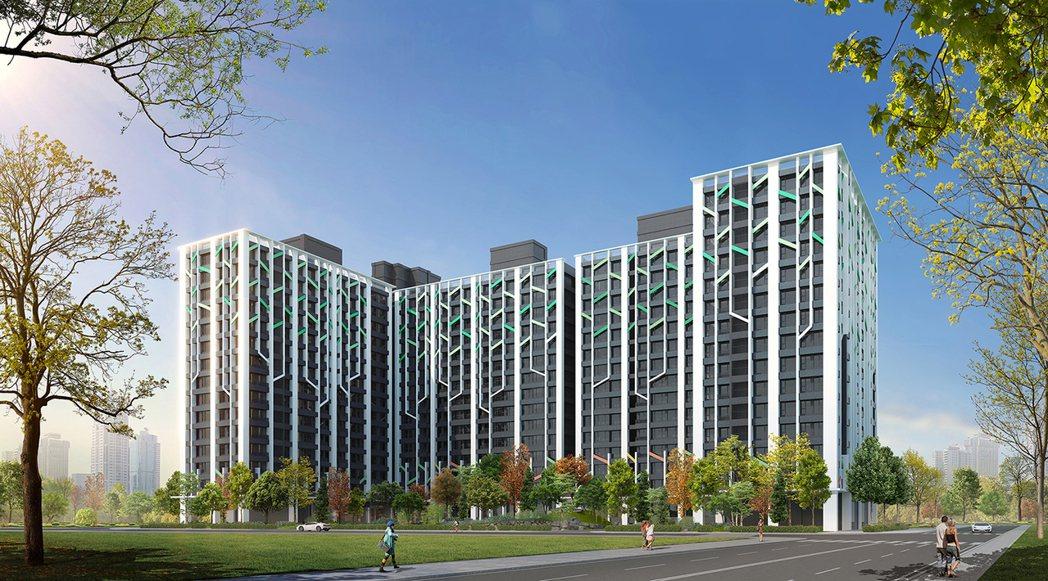 外觀取樹林意象為表徵,打造建築國度,3D合成示意圖。圖片提供/京城建設