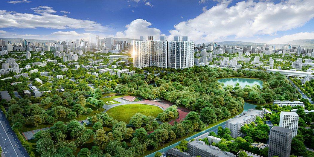 都會公園第一排,完美坐落浩瀚綠海,3D合成示意圖。圖片提供/京城建設