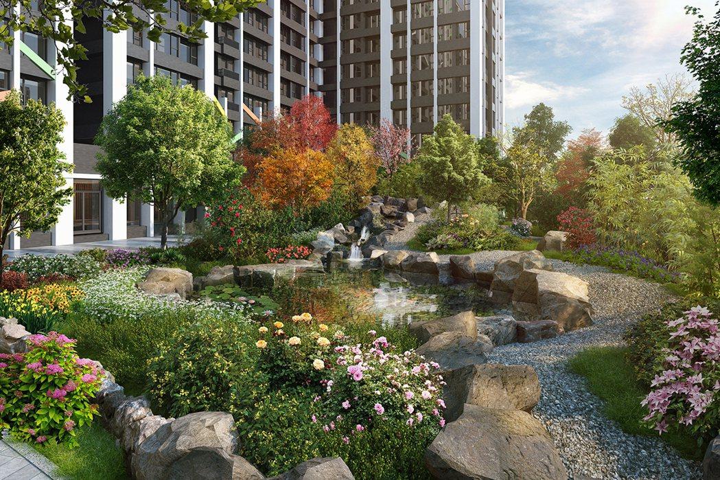 朗闊中庭700坪園藝,珍貴收藏,3D合成示意圖。圖片提供/京城建設