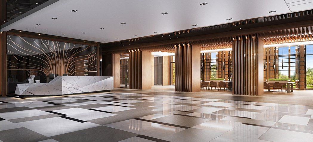 2600坪基地才有的國際會所級大廳,3D合成示意圖。圖片提供/京城建設