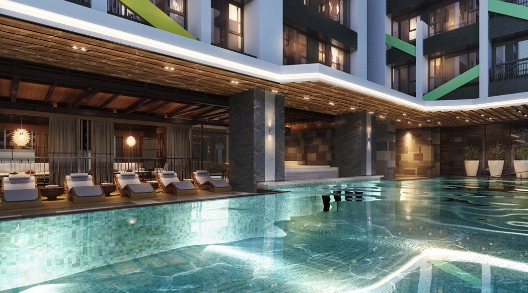 頂級飯店式泳池,悠游時尚,3D合成示意圖。圖片提供/京城建設