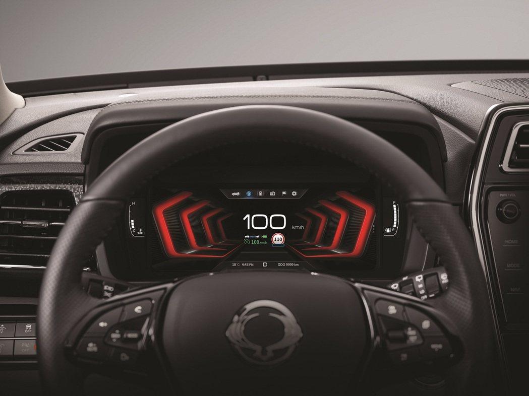 全新10.25吋TFT-LCD駕駛座數位儀表板。 圖/Ssangyong提供