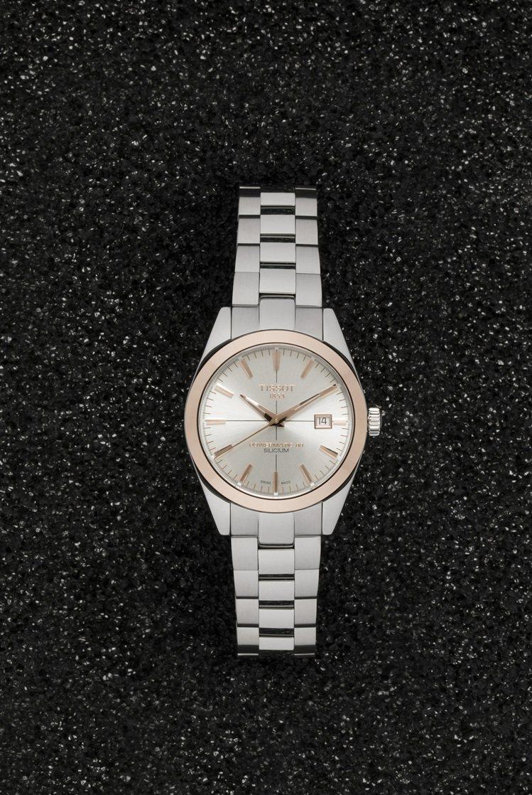天梭表Gentleman紳士系列腕表,不鏽鋼表殼、表鍊搭配18K玫瑰金表圈,採用...