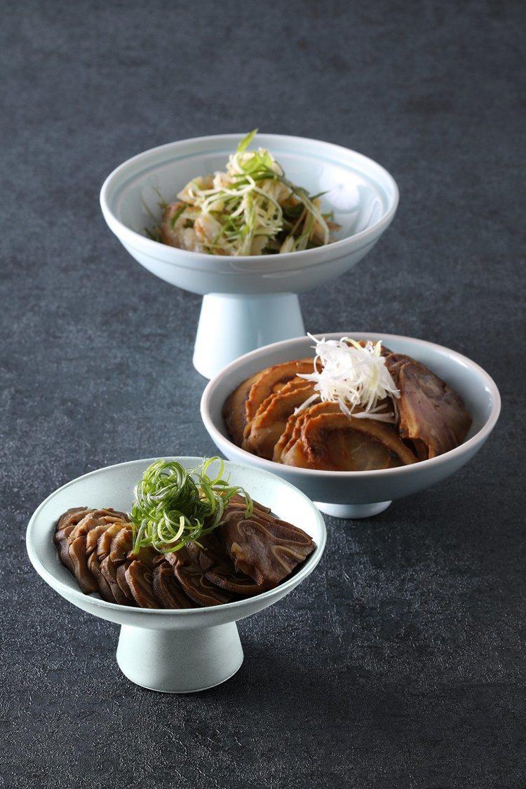 功夫鰻鮝(後起)、肚耳捲、筋肚捲腱子。圖/台北亞都麗緻大飯店提供