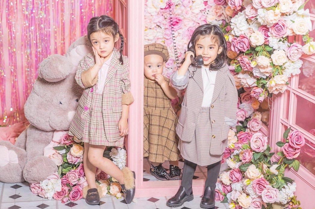 「花錢王MFK」成員黑莉(左起)、朵朵和花苞。圖/UTS KID MUSIC提供