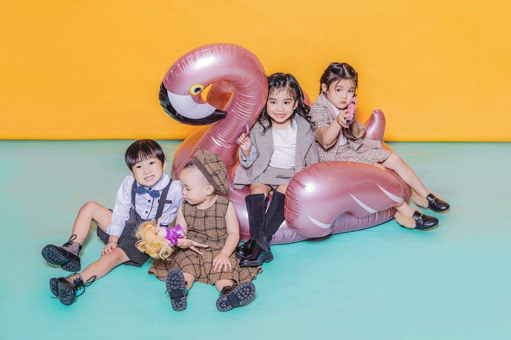 「花錢王MFK」成員花苞(右起)、黑莉、朵朵和錢寶。圖/UTS KID MUSI...