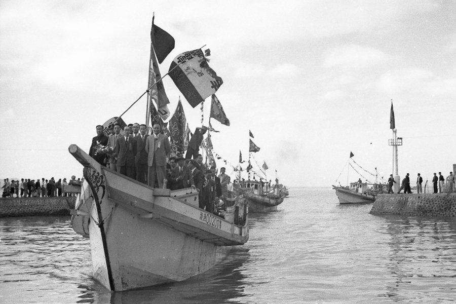 1995年淡水小漁港開港典禮。 圖/聯合報系資料照