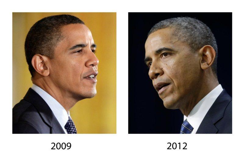 頭髮逐漸變灰白,是自然歷程。美國前總統歐巴馬2009年10月剛滿48歲時(左)還...