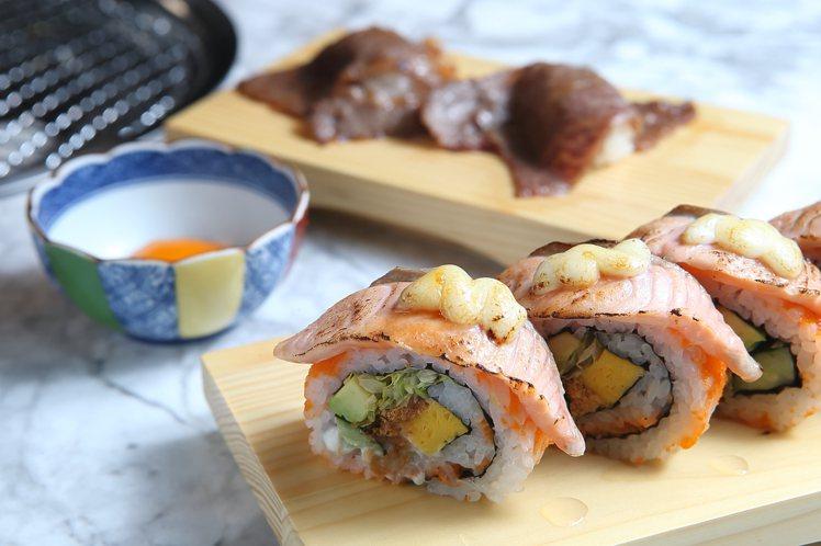 鮭魚加州卷,每份380。月見和牛壽司,兩貫480元。記者陳睿中/攝影