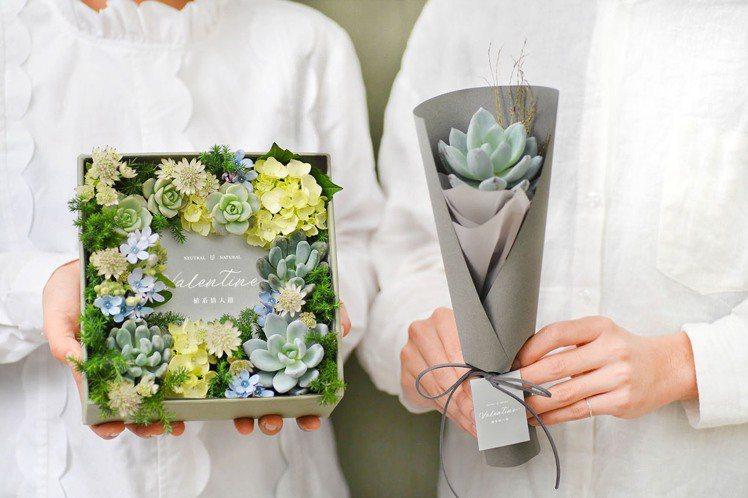 情人節多肉花藝組合(圖/有肉 Succulent & Gift提供)