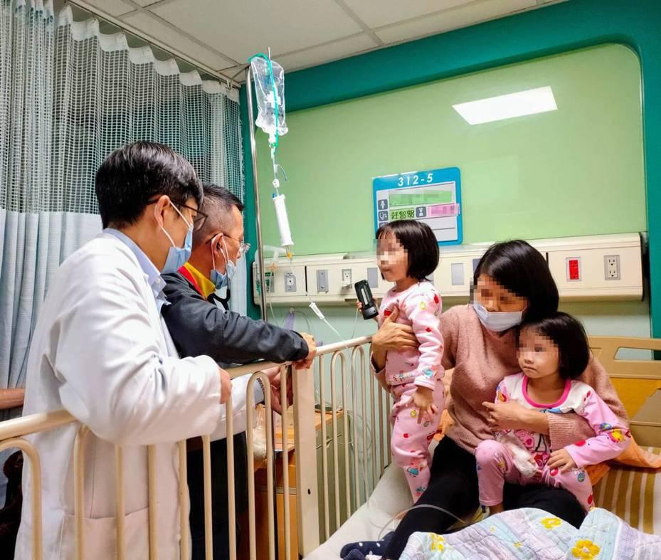 桃園市3歲女童小宣確診黴漿菌肺炎,在聖保祿醫師莊智賢與兒科診所醫師曹景雄合力診治下,逐漸恢復身體健康。圖/聖保祿醫院提供
