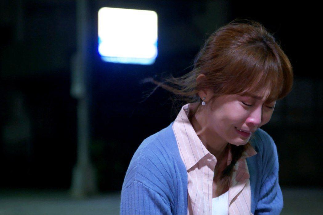 林昀希在劇中遭一連串打擊崩潰痛哭。圖/東森提供