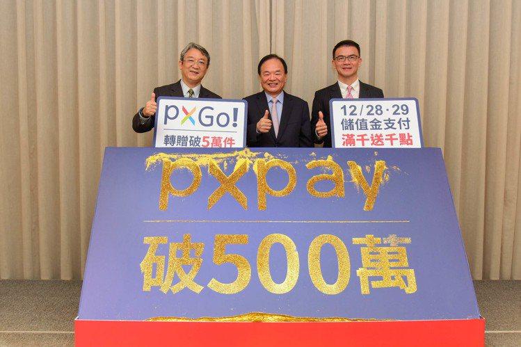 全聯歡慶「PX Pay」上線半年註冊數達500萬的佳績,執行長謝健南(左)、董事...