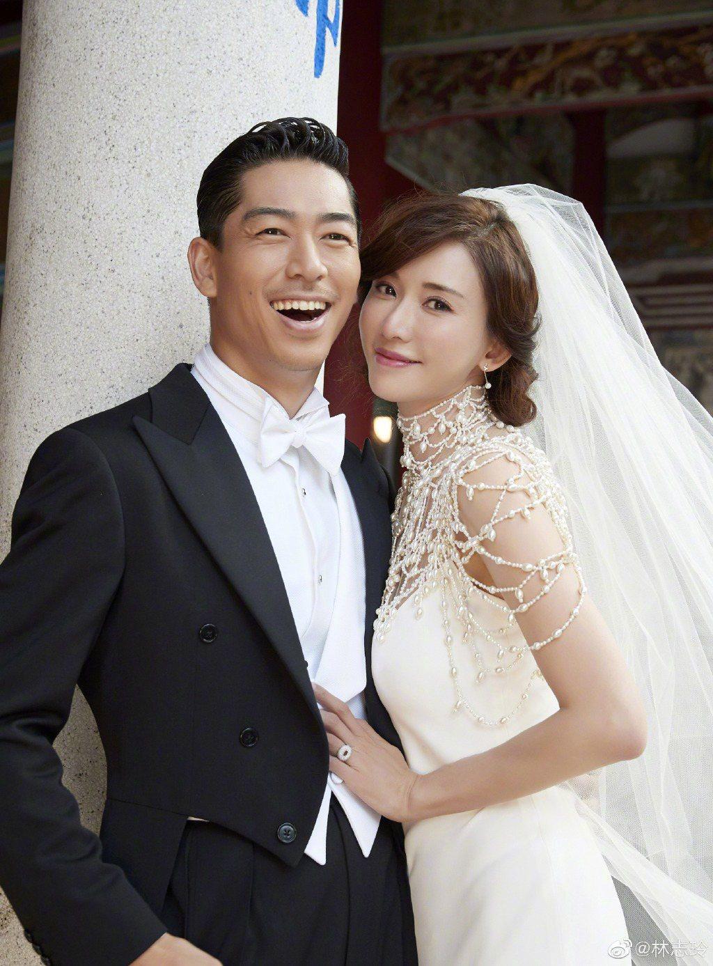 林志玲與新婚丈夫Akira的幸福合照。圖/摘自微博