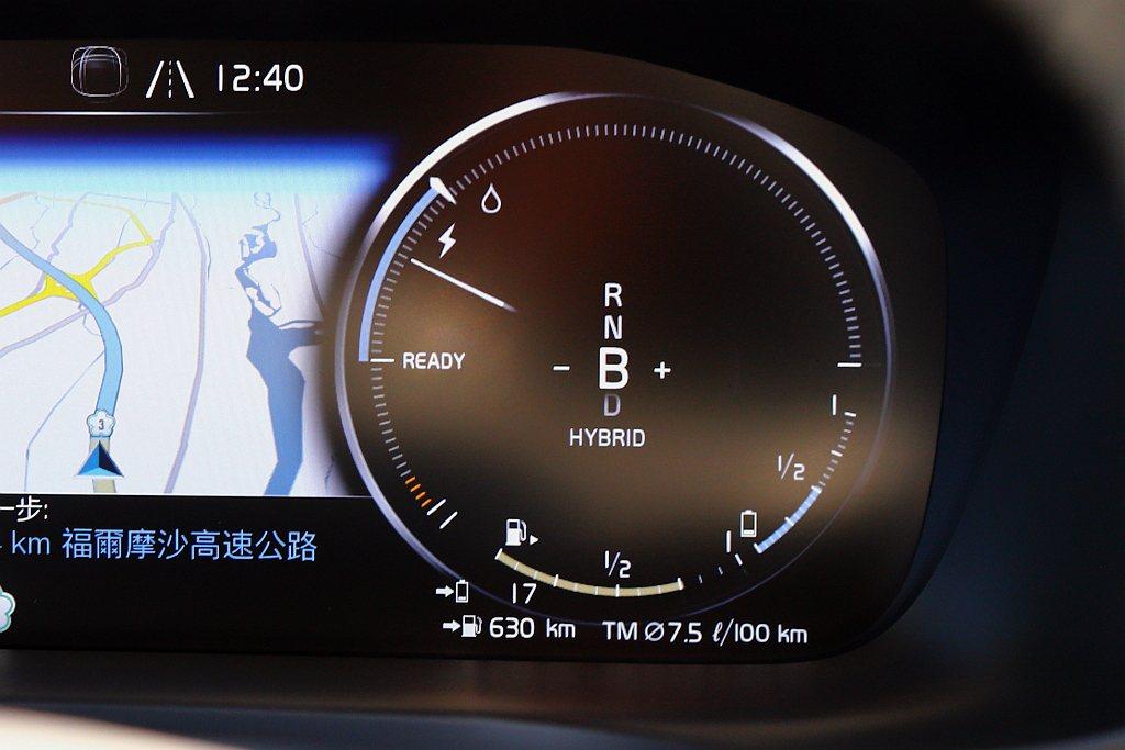 12.3吋數位整合資訊儀錶右側的顯示資訊,上半圓為油門深淺指示、下半圓則有電能回...