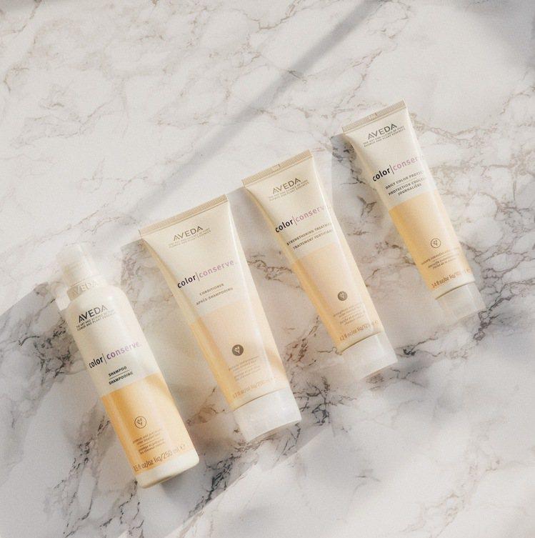 AVEDA護色系列包括護色洗髮精、護色潤髮乳、護色強效護髮乳、護色亮澤鎖色精華等...