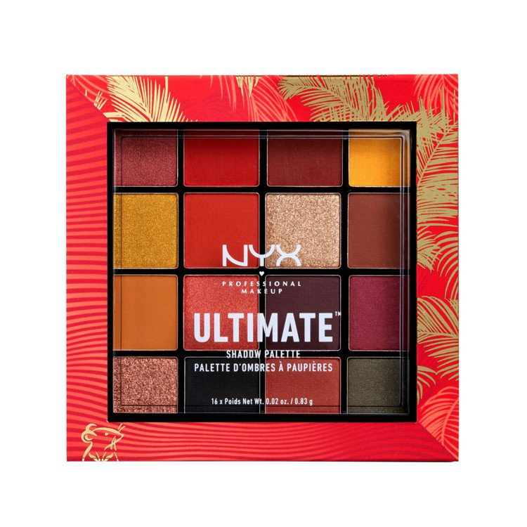 新年限定包裝的NYX Professional Makeup百變玩味16色眼影盤...